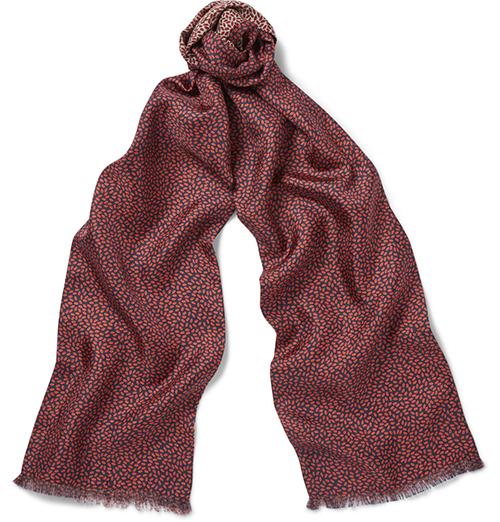 红色印花长丝巾