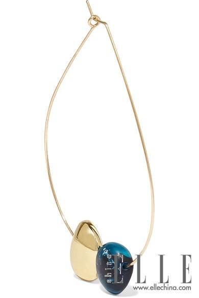 DINOSAUR DESIGNS Mineral Hoop 包金树脂耳环