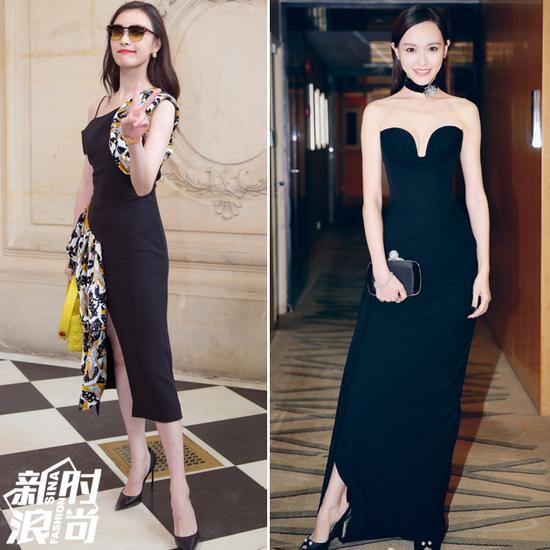 女<a href=http://www.iresarch.cn/mingxing/ target=_blank class=infotextkey>明星</a>穿黑色礼服配黑色高跟鞋