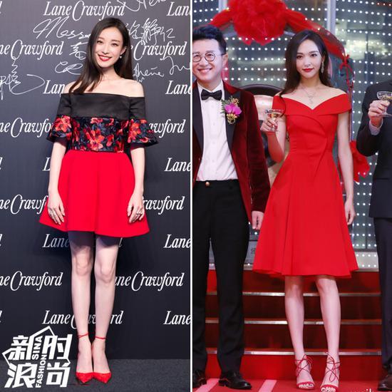 红裙配红色高跟鞋