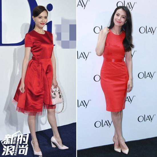 红色礼服配白色高跟鞋