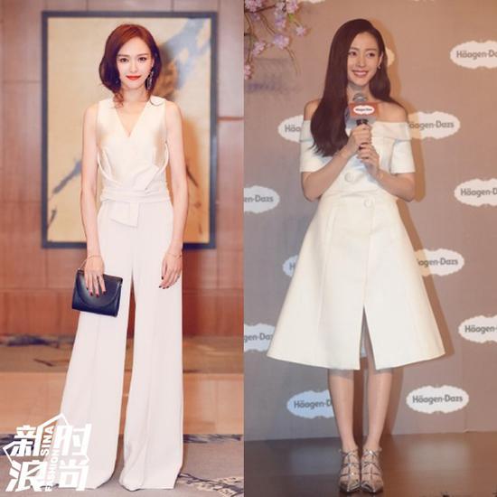 白色裙装搭配浅色高跟鞋