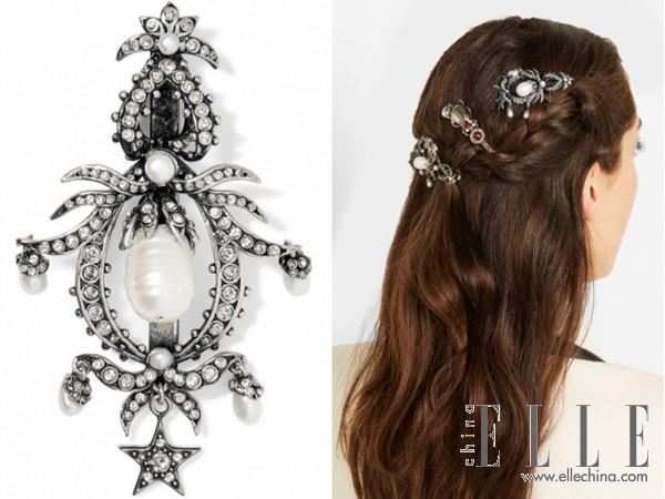 ALEXANDER MCQUEEN 施华洛世奇水晶、珍珠、镀银发夹