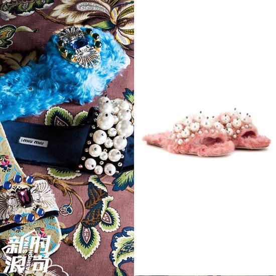 Miu Miu毛毛拖鞋