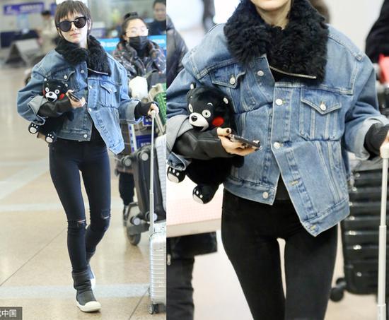 王子文机场街拍-王子文的个性穿法示范 牛仔外套的时髦进化史图片