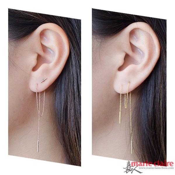 长耳坠耳环搭配起来特别有姿态,尤其配上多个耳洞时,便能激发它的无限可能。