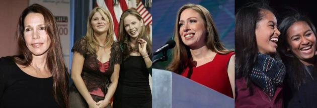 自左至右:里根女儿、布什女儿、克林顿女儿、奥巴马女儿