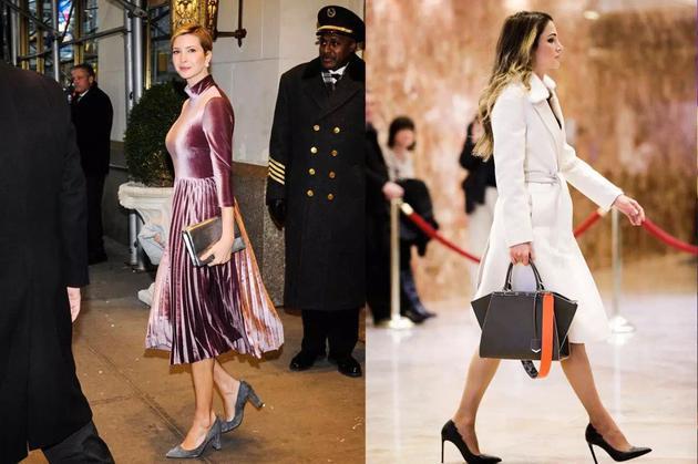 左:伊万卡·特朗普前往特朗普大厦;右:拉尼娅王后离开特朗普大厦