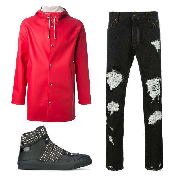 红色休闲外套搭配
