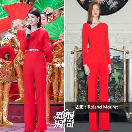 刘涛一身红色连体裤亮相春晚