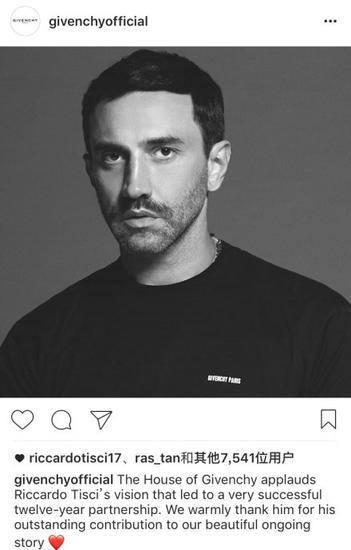品牌通过instagram对Riccardo Tisci表达感谢