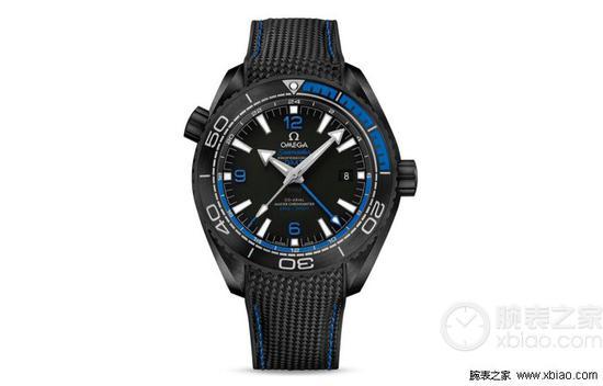 """欧米海马系列海洋宇宙""""深海之黑""""至臻天文台GMT腕表(蓝黑款)"""