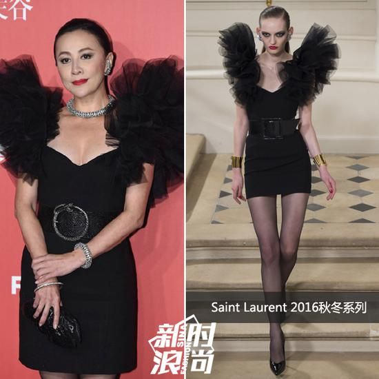 刘嘉玲穿Saint Laurent 2016秋冬系列