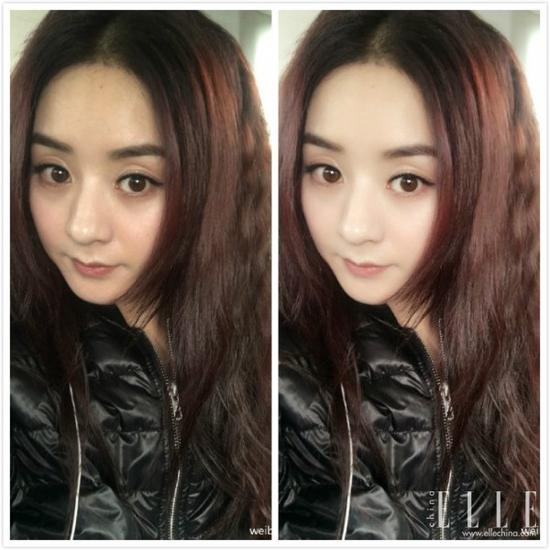 赵丽颖近日在微博上晒了两张滤镜前后自拍的对比照