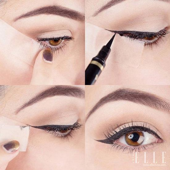 可以将粘纸先黏贴在下眼线的延长线上