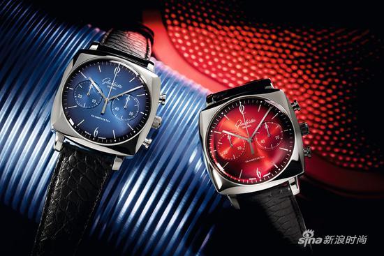 格拉苏蒂原创鎏金六零年代海蓝腕表和焰彤腕表