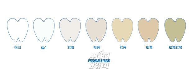 牙齿颜色对照表