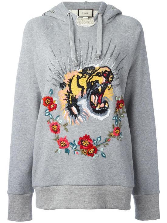 Gucci 老虎刺绣连帽套头衫 约¥34124