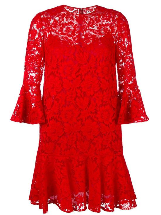 Valentino 荷叶边镂空蕾丝连衣裙 约¥27655