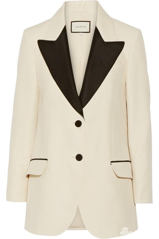 Gucci 双色羊毛真丝混纺罗缎西装式外套 约¥22057