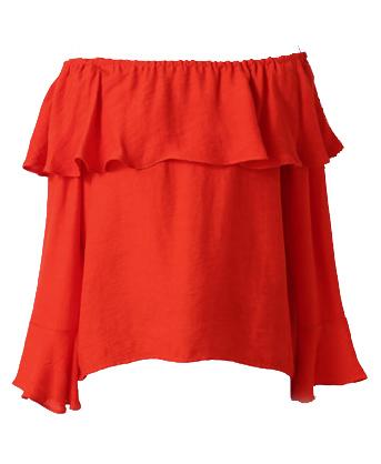 UGOCCAM一字领荷叶袖雪纺衫 ¥189