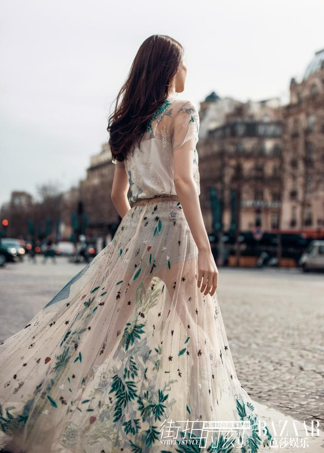 拖地透视长裙