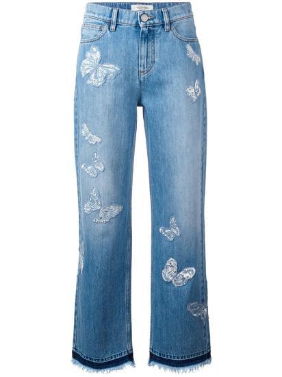 Valentino 蝴蝶贴花男友风牛仔裤 约¥21885