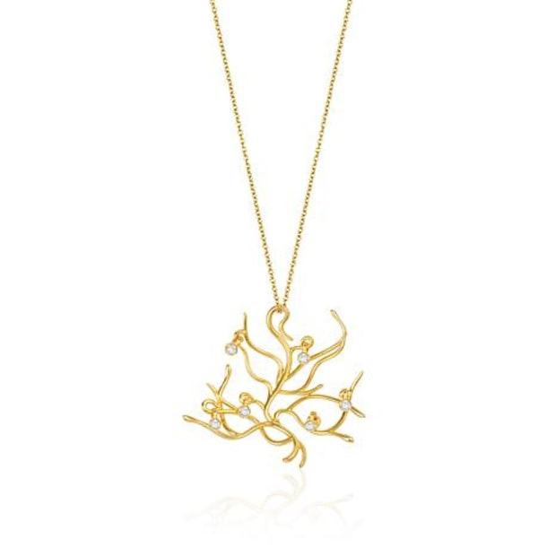 HSN联手迪士尼推出的0.162克拉钻石及18k金贝儿佩戴的项链,售价约2450元。