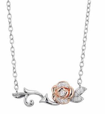 金包银材质镶钻玫瑰项链 售价270美元 约1854元