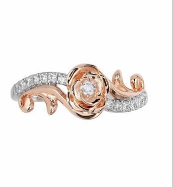 """10K玫瑰金""""贝儿公主""""订婚钻戒 售价833美元 约5722元人民币"""