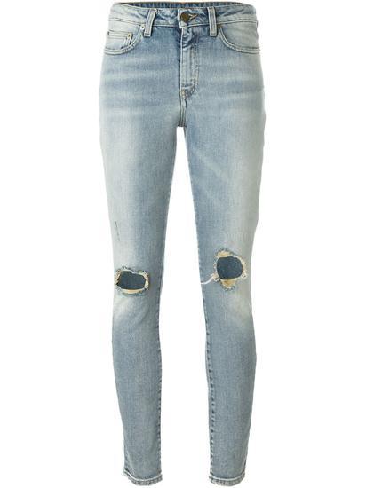 Saint Laurent 磨损紧身牛仔裤 约¥7337