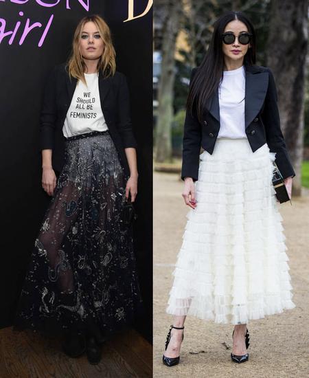 白T配纱裙