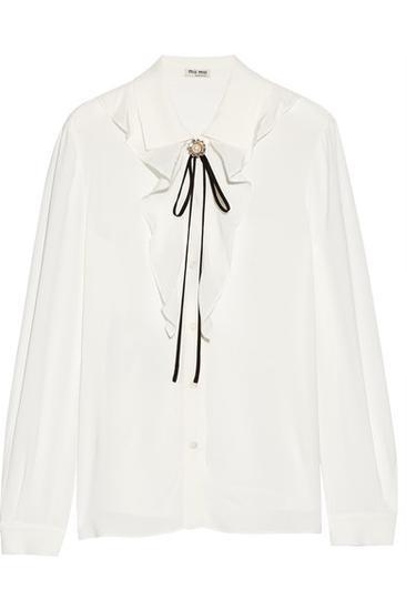 Miu Miu 荷叶边绉纱女衫 约¥8456
