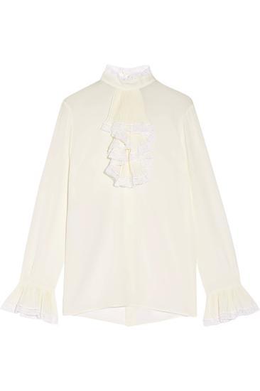 Gucci 蕾丝边饰荷叶边女衫 约¥12995