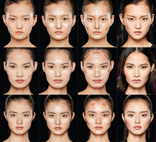 三种脸型修容前后对比图(图片来源:网络)