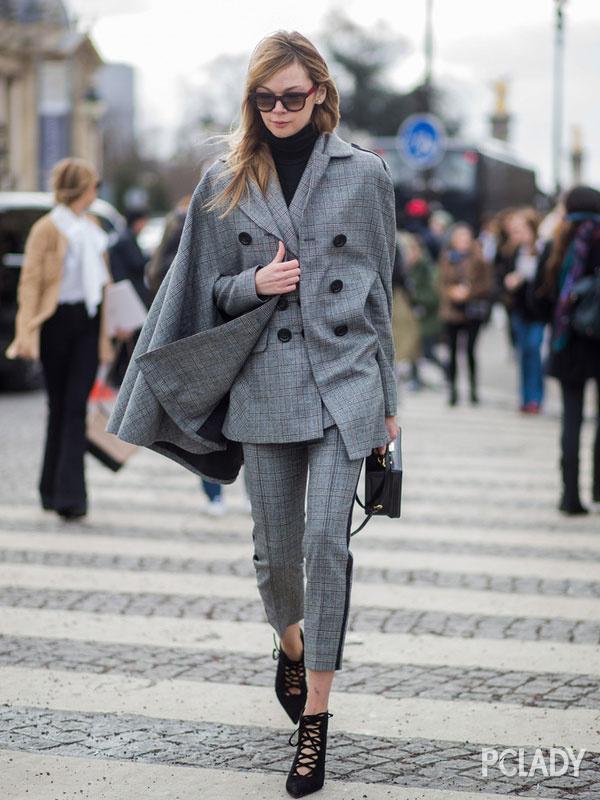 格纹西装+格纹西裤
