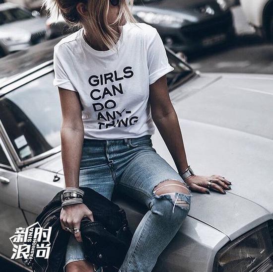 slogan T恤街拍