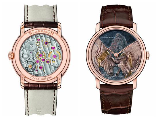 """宝珀Blancpain Métiers dArt艺术大师工作室""""双牛争王""""腕表,售价1216500元,限量1枚。"""