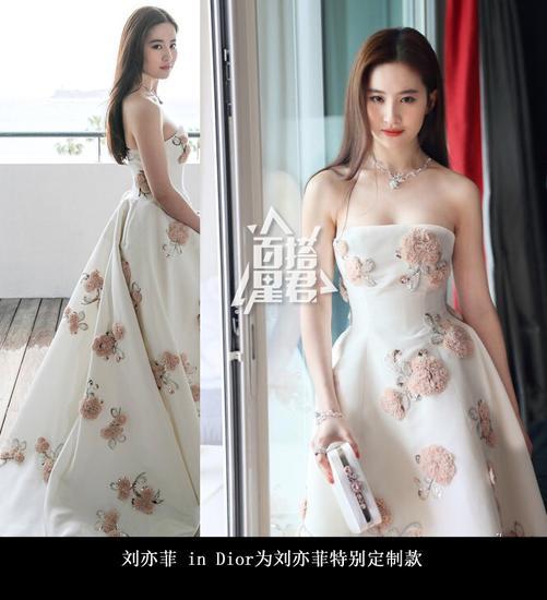 刘亦菲身着Dior特别定制款礼服