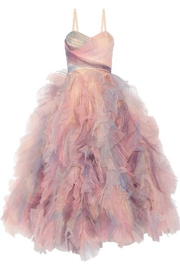 Marchesa 荷叶边绢网礼服 约¥49317