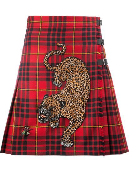 Gucci 珠饰刺绣格子半身裙 约¥25989