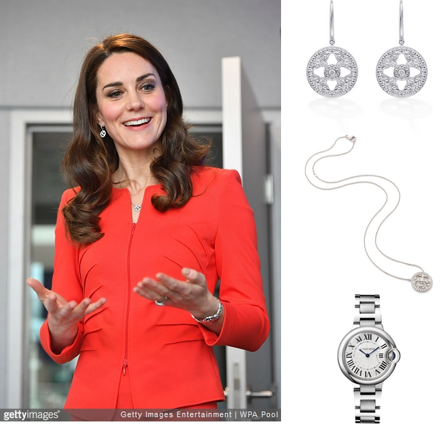 凯特佩戴Mappin & Webb品牌珠宝及卡地亚蓝气球腕表