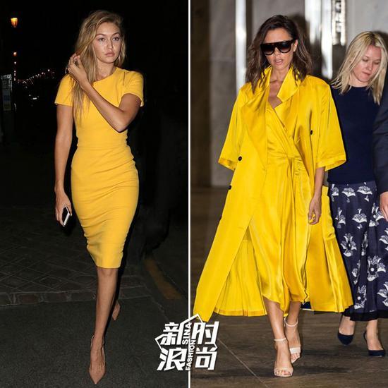 黄色连衣裙配裸色高跟鞋