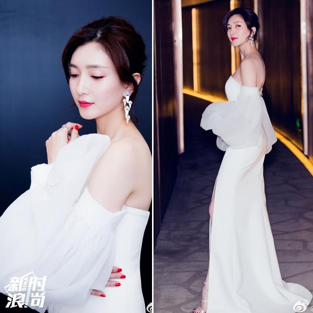 江疏影穿白色礼服