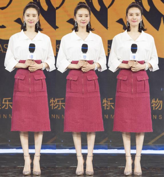 刘诗诗穿衬衫搭配高腰裙