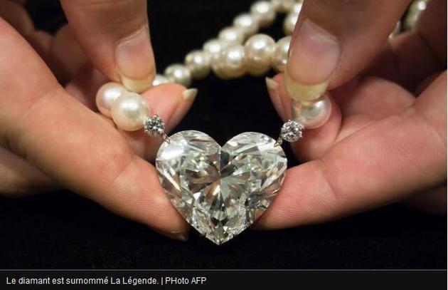 佳士得拍卖行的上述拍品包括一串珍珠项链和上面挂着的心形钻石。