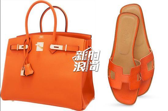 爱马仕橙色包包和橙色凉拖