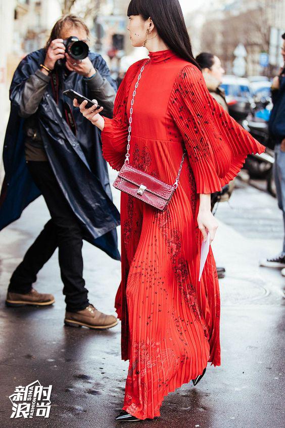 时装周红色街拍
