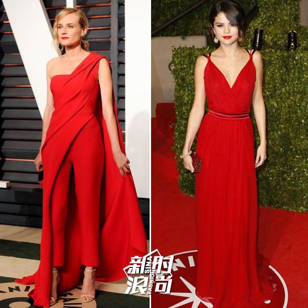 女明星穿红色走红毯
