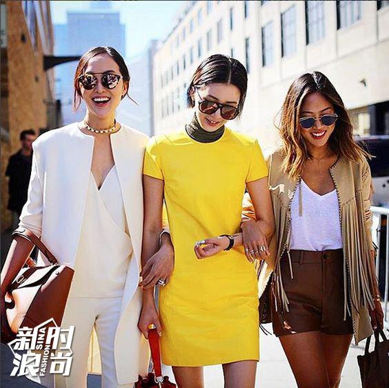时尚博主穿黄色街拍
